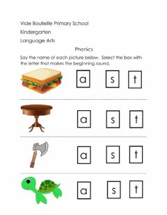 Interactive worksheet Select letter to match beginning sound of picture -letter t