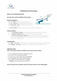 Interactive worksheet BUSINESS COMMUNICATION B1: Predicting and Forecasting