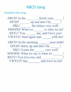 Interactive worksheet ABCD Song to Complete