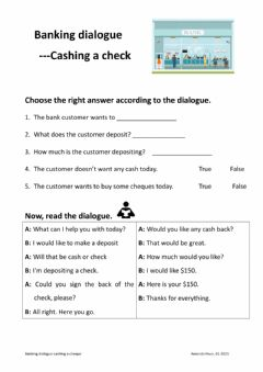 Interactive worksheet Banking dialogue-cashing a cheque