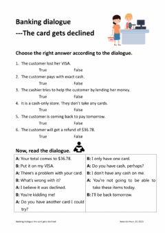 Interactive worksheet Banking dialogue-the card gets declined