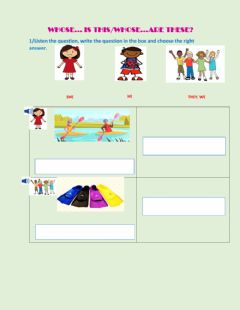 Interactive worksheet Level 4 - Unit 4c: Whose...