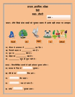 Ficha interactiva HINDI PAPER CLASS 3 (Objective type)