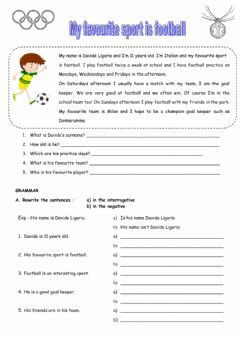 Interactive worksheet My favourite sport is football