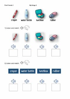 Interactive worksheet First Friends 1 - My things 2