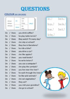 Interactive worksheet QUESTIONS (WH- QUESTIONS and DO-DOES)