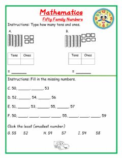 Ficha interactiva Fifty Family Numbers HW