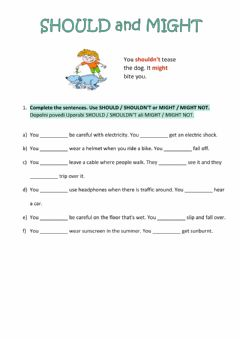 Interactive worksheet Should and might