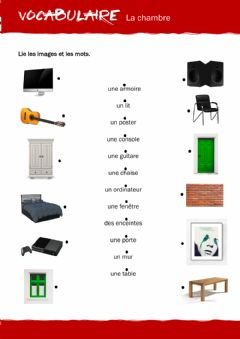 Interactive worksheet VOCABULAIRE - Ma chambre