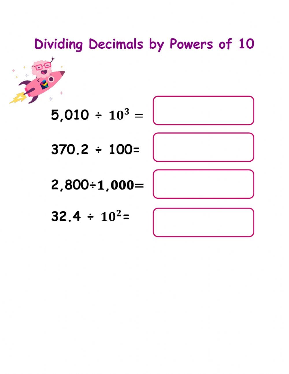 Multiplication And Division With Decimals Worksheet