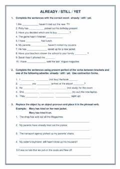 Interactive worksheet Present perfect with already, still, yet