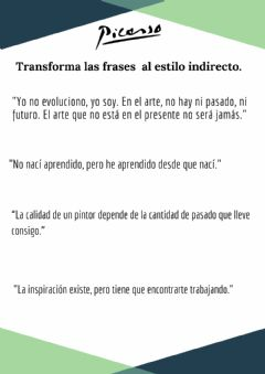 Interactive worksheet Picasso-frases-estilo indirecto