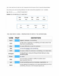 Interactive worksheet Phrasal verbs practice and expansion