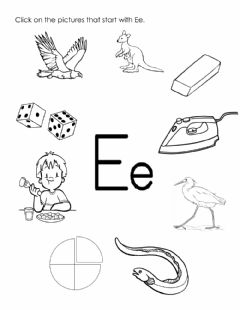 Interactive worksheet Letter E - picture search (Long Sound)