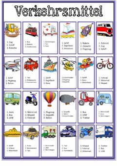 Interactive worksheet Transportmittel
