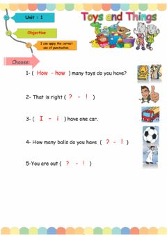 Interactive worksheet Toys and things