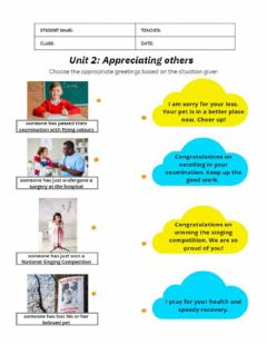 Interactive worksheet Unit 2: Appreciating Others