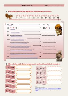 Interactive worksheet Impartirea la 7