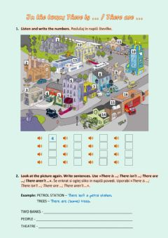 Interactive worksheet In the town- There is - are ...