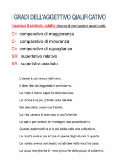 Interactive worksheet I gradi dell'aggettivo qualificativo