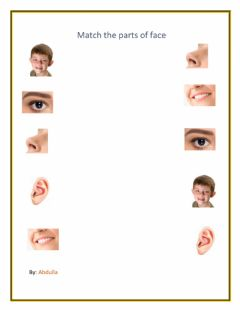 Ficha interactiva Match parts of the face