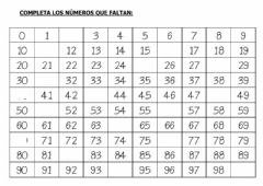Interactive worksheet Completar tabla