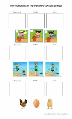 Ficha interactiva Sequencing pictures: beginning, middle, end.