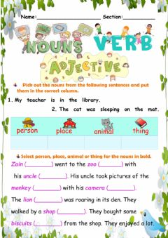 Interactive worksheet Nouns, Verbs and Adjectives