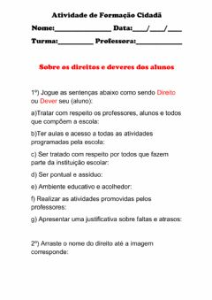 Interactive worksheet Direitos e Deveres