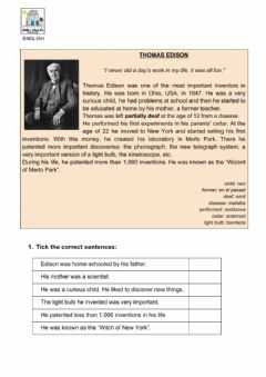 Interactive worksheet Thomas Edison