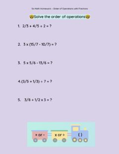 Ficha interactiva 5a Math Homework - Order of Operations with Fractions