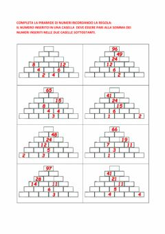 Interactive worksheet Piramide addizioni sottrazioni 0-100