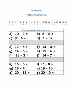 Ficha interactiva Subtraction using a number line