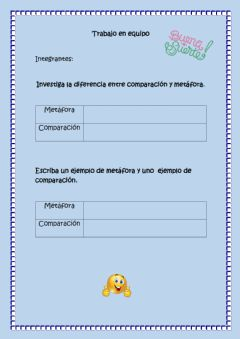 Interactive worksheet Comparación y metáfora