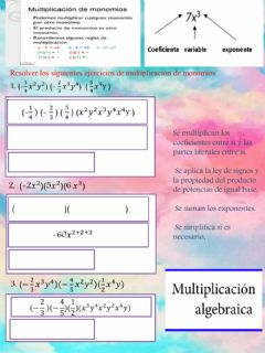 Interactive worksheet Multiplicacion de monomios