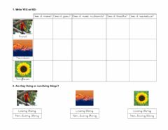 Interactive worksheet Living non-living things