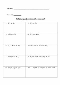 Interactive worksheet Multiplying polynomials with monomials