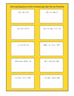 Interactive worksheet Solving Equations by Combining Like Terms Practice