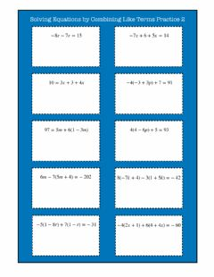 Interactive worksheet Solving Equations by Combining Like Terms Practice 2