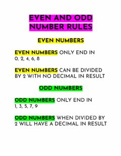 Interactive worksheet Even and Odd Number Rules
