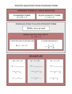 Ficha interactiva Writing Equations from Standard Form to Slope Intercept Form