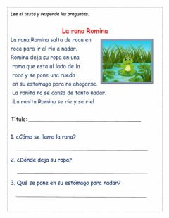 Interactive worksheet La rana Romina
