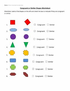 Ficha interactiva Congruent or Similar Shapes Worksheet