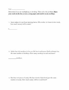 Interactive worksheet Multiplication and Division word problems