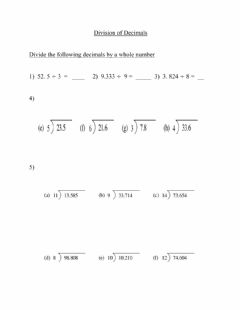 Ficha interactiva Dividing decimals by whole numbers