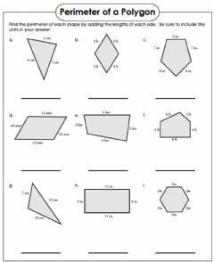 Interactive worksheet Perimeter of a Polygon