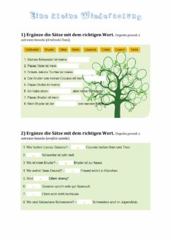 Interactive worksheet Possessivpronomen und die Familie