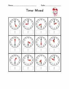Interactive worksheet Time: Hour and Half Hour
