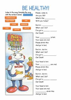 Interactive worksheet Be Healthy Song