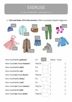 Interactive worksheet At the clothes shop